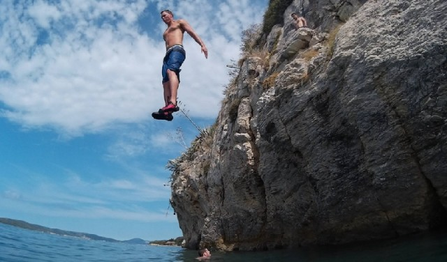 Rock climbing from the sea - city Split