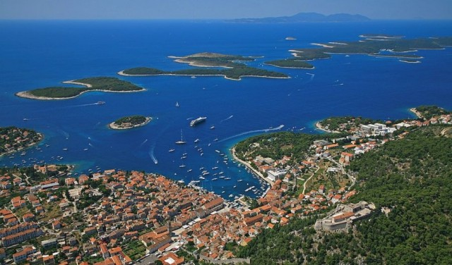 Panoramic flight Dalmatian islands