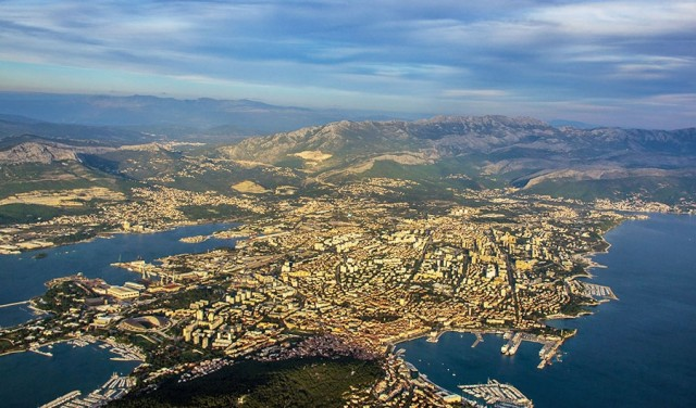 Panoramic flight Split and surroundings